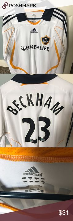 LA Galaxy game Jersey Adidas Beautiful LA Galaxy David Beckham game jersey Adidas Shirts Polos