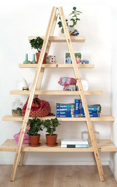DIY ladder bookshelf and bookcase ideas that you can make using old ladders and a little creativity. Make your diy ladder shelf bookcase today! Ladder Bookshelf, Diy Ladder, Bookshelf Ideas, Shelving Ideas, Bookshelf Inspiration, Book Shelves, Bookshelf Design, Hanging Shelves, Wall Shelves
