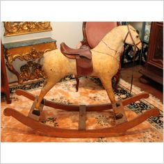 Antique Rocking Horse Antique Rocking Horse, Rocking Horse Toy, Vintage Horse, Carosel Horse, Victorian Toys, Wooden Horse, Hobby Horse, Hairstylists, Pull Toy