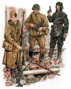 Two soviet riflemen, one with an anti-tank rifle, and a tank crew member.  Looks like a depiction of Stalingrad.