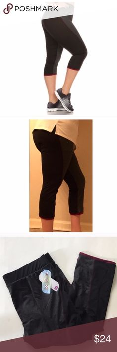 "Athletic capris Black/ gray gym pants. Polyester/ spandex combo. 2"" waistband great for added tummy control! For reference I am a 2x and I'm wearing the 2x and they fit really well overall (minus my dinky calves that don't fill the bottom out very well) 1x: Inseam: 21"" Waistband: 32-41"" 2x: Inseam: 21.5"" Waistband: 34-43"" 3x: Inseam: 22"" Waistband: 36-45"" ⭐️This item is brand new with tags Price is firm unless bundled ✅Bundle offers Availability: 3x • 1 Pants Leggings"