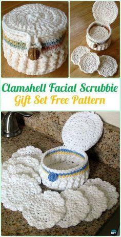 Crochet Clamshell Facial Scrubbie Gift Set Free Pattern - Crochet Spa Gift Ideas Free Patterns #CrochetGifts