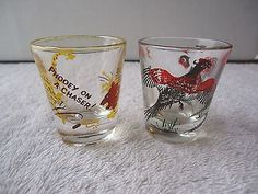 """Vintage Lot Of 2 Shot Glasses,1,Phoeey On A Chaser !,1,Pic Of Pheasants """" BEAUTI #vintage #collectibles #home #kitchen"""