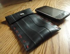 Recycled Iphone Sleeve handmade from the busted inner tubes of bicycle tires