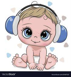 Cute cartoon Baby boy with headphones on a white background. Cute cartoon Baby Boy with blue headphones on a white background royalty free illustration Cute Cartoon Girl, Cartoon Images, Cartoon Drawings, Cartoon Ideas, Baby Cartoon Drawing, Baby Boy Scrapbook, Baby Boy Background, Boy Drawing, Drawing Ideas