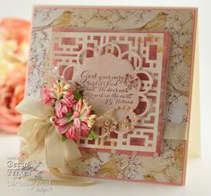 3-19-12 - RECIPE: Stamps:Our Daily Bread Quote Collection 2. Paper: Die Cuts With A View; Co'redinations; Neenah Classic Crest Cream 80lb. Ink: Memento Rich Cocoa.  Extras: EK Success Modern Cube;Spellbinders: Blossom Tags & Accents;Seam Binding; Corsage Pins; Recollections Pearls; Prima Flowers; Recollections Pearls; Ideas:Our Daily Bread Designs Gallery,Spellbinders Blog.  Website Tutorial available on making background border-filled frame (NOT a die).