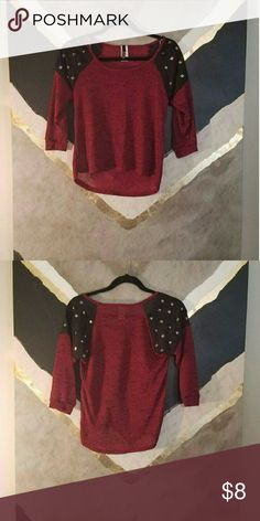 Burgandy sweater Light weight burgandy sweater. Burgandy sweater material has black speckles. Black part is a sheer material with metallic silver square studs. Never worn. No trades. Sweaters Crew & Scoop Necks