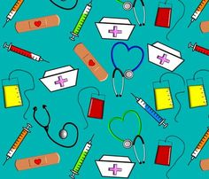 Nurse Theme fabric by egnatz on Spoonflower - custom fabric Nurses Week Gifts, Nurse Gifts, Homemade Posters, Nursing Wallpaper, Charity Poster, Modes4u, Flower Wallpaper, Fabric Wallpaper, Creative Posters