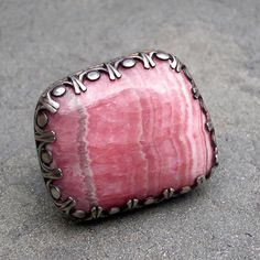 Rhodochrosite Ring   Large Pink Rhodochrosite by lsueszabo on Etsy