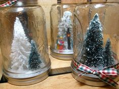 Waterless Mason Jar Snow Globe - Rustic Holiday Decor - Christmas Gift by TheTroveShoppe on Etsy Christmas Jars, Homemade Christmas Gifts, All Things Christmas, Christmas Crafts, Mason Jars, Mason Jar Crafts, Glass Jars, Thanksgiving Decorations, Christmas Decorations