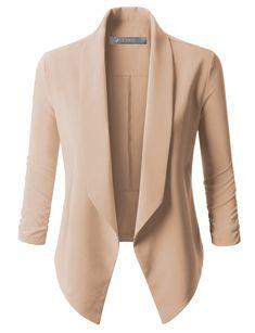 Womens Lightweight Open Front Draped Tuxedo Blazer Jacket - Woman Jackets and Blazers Blazer Outfits Casual, Casual Blazer Women, Blazer Fashion, Casual Wear, Fashion Shirts, Fashion Top, Emo Fashion, Fashion 2017, Womens Fashion