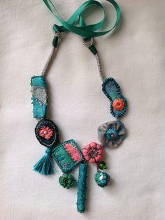 Necklace 12, painted silk by Marinela Kozelj