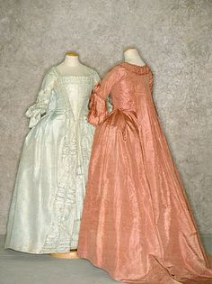 Two silk moiré dresses, probably European, c. 1765. Tirelli Trappetti Foundation.