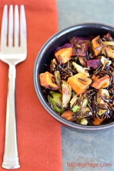 Fall Vegetable Wild Rice - add your favorite veg like roasted brussels sprouts and sweet potatoes for a great Thanksgiving side or one dish meal - gluten free & vegan | TastingPage.com