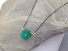 Green onyx and oxidized sterling silver necklace