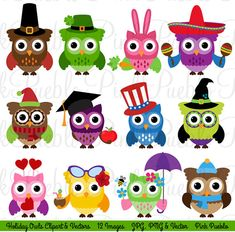 Holiday+Owl+Clipart+Clip+Art+Seasonal+Owls+Clipart+by+PinkPueblo,+$6.00