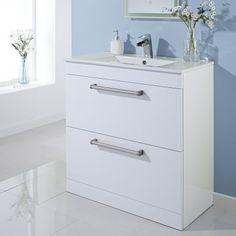 Attractive Milano 800mm Floor Standing 2 Drawer Vanity Unit Gloss White