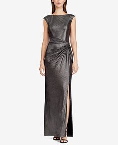 3e2ac1ff5b9 Lauren Ralph Lauren Metallic Cap-Sleeve Gown   Reviews - Dresses - Women -  Macy s