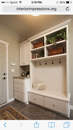 I like the idea of a bench & a little counter space...mudroom ideas.