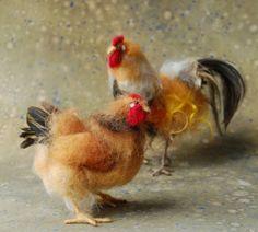 Tag 30: Nadel Gefilzte rote Henne von SarafinaFiberArt auf Etsy