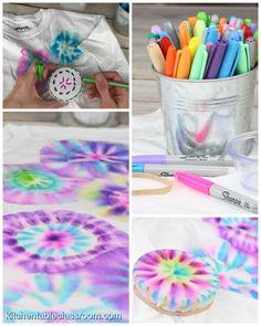Permanent Marker Color Bursts on Fabric - The Kitchen Table Classroom Make vibrant bursts of color on fabric with this Sharpie tie dye method. Use permanent markers & rubbing alcohol to create beautiful bursts of color on fabric. This Sharpie tie dye proc Fête Tie Dye, Tie Dye Party, How To Tie Dye, Tye Dye, Tie Dye Shoes, Bleach Tie Dye, Bleach Pen, How To Dye Fabric, Cute Crafts