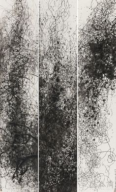 Wang Huangsheng(Chinese, b.1956)Moving Visions 140408 , ink on paper, 248 x 48 cm x 3, 2014 via