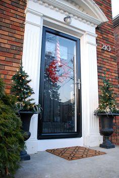 Front Entrance- fiberglass door and storm door, rug from Ikea Front Door With Screen, Christmas Front Doors, Painted Front Doors, Front Entrances, Exterior Paint, Fixer Upper, Curb Appeal, Building A House, Red Doors