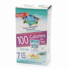 Blue Diamond Almonds, 100 Calorie Bags, Sea Salt7 ea