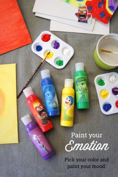 Paint with your emotions! Label appropriate colors with each emotion from Disney Pixar's Inside Out and have your kid choose what color they want to paint depending on how they feel today. Talk about what made them happy or help them cope with their fear or anger while they paint. And don't forget to get the movie on Disney Movies Anywhere 10/13 and Blu-ray 11/3!