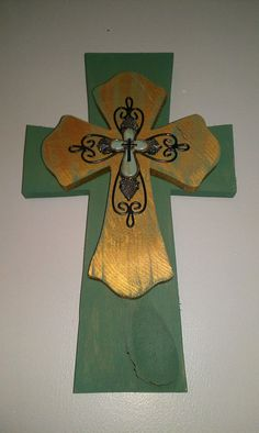 Intricate Green & Gold Wooden Cross by bstreetboutique on Etsy