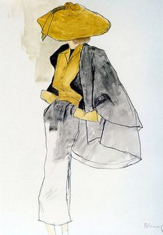 A sketch by Bernard Blossac of one of Dior's 'New Look' designs, 1950.  #draw #painting #illustration