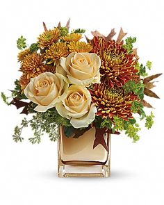 Pale Peach Rose Fall Bouquet from Send Flowers. Soft pretty peach roses hand-delivered in a bronze Fall flower bouquet with bronze mums and chrysanthemums. Fall Flower Arrangements, Wedding Arrangements, Floral Centerpieces, Fall Flowers, Fresh Flowers, Beautiful Flowers, Wedding Flowers, Cheap Flowers, Send Flowers