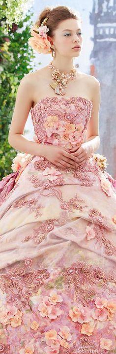 Stella de Libero Colorful Wedding dress, Brides, bridal, bride, exotic wedding, romantic bride, off white wedding gown, renaissance bride, wedding reception dress, rehearsal dinner dress