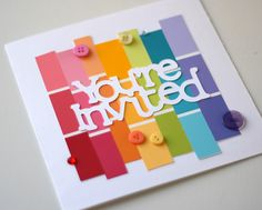 Lovely paint swatch and die cut invitation.