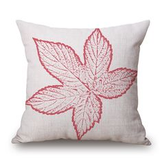 Superficial, Cotton Linen Home Decorative Sofa Square Pillowcase Fashion Pillow Cover Case 1818, Minimalist Maple Leaves Pink -- Awesome products selected by Anna Churchill
