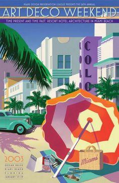 Ocean Drive Deco Architecture Poster