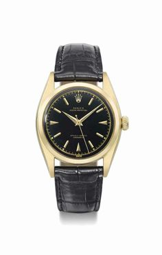A very fine and attractive 18K gold automatic wristwatch with sweep centre  seconds and black gloss dial , SIGNED ROLEX, OYSTER PERPETUAL, REF. 6d702b0a8806