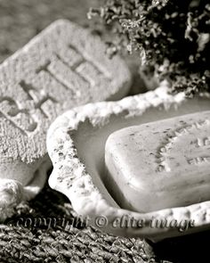 SET of (3): Bathroom Faucet Hot and Cold Water Handles with a Soap Dish and Bath Pumice Stone in an Antique Vintage Feel - Three 8x10 Photograph Print
