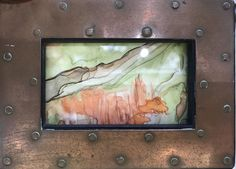 Watercolor Abstract - Trees 3 x 4 Brown Metal/Rivet Frame C.