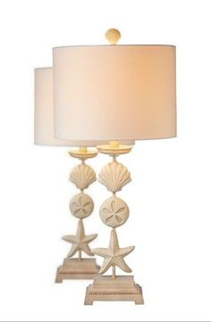 Starfish and Shells Sealife Table Lamps 60 Watt 21.5 Inch Set of 2, Natural