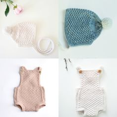 Knitting patterns for Baby romper and baby bonnet. -Knit a lovely outfit for a little one. Perfect for a coming home outfit or a playful toddler. Sizes: 0-24months You will receive two patterns: The Oscar baby bonnet and The Mia baby romper. Both are knit in the same textured pattern. *This value pack of patterns is 27% cheaper than purchasing the individual patterns.*  These are digital download pdf files with knitting instructions in ENGLISH & NORWEGIAN. You will receive both and can th...