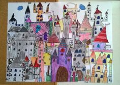 Castle, kid's drawing, primary school, colors