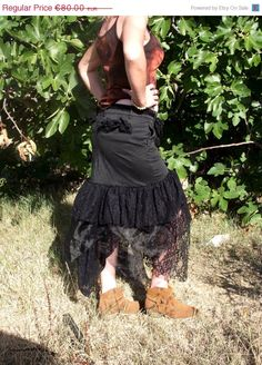 SALE Black Recycled cotton fabric and lace skirt Gypsy skirt Witch Pagan Skirt Pixie skirt Bohemian skirt Goth skirt Festival clothing