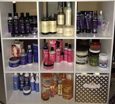 My new storage unit for all my hair products. Oils are in the bin. #ProductJunkie #haircaregifts,