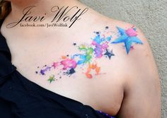 Watercolor stars tattoo Tattooed by Javi Wolf - omg I just had an elephant watercolor tattoo idea 2days ago and she has done it on someone already!!