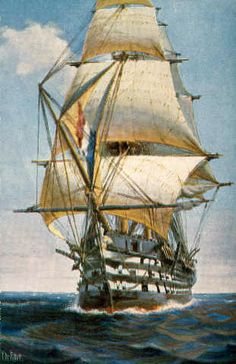 """Christopher Rave,  """"Le Valmy"""".  Valmy was laid down at Brest in 1838 as Formidable and launched in 1847. When she entered service in 1849, she was the largest warship in the world and would remain so until 1853, when the British three-decker Duke Of Wellington (6,071 tons and converted to steam power while on the stocks) entered service, but she would remain the largest sailing three-decker ever built."""