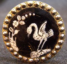 Antique French Hand Painted Button w/Bird on Enamel; Circa 1700's