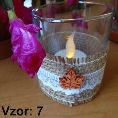 Sklenený svietnik Jarko - Sviečka - S čajovou sviečkou LED (plus 1€), Vzor - Vzor 7