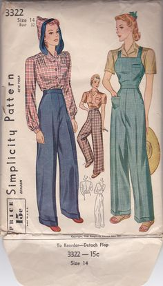 40s Rosie The Riveter Factory Girl Criss Cross Overalls Slacks Blouse Size 14 Bust 32 Vintage Sewing Pattern Simplicity 3322 Complete