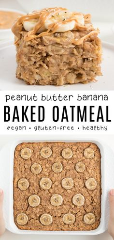 This peanut butter banana baked oatmeal is a fluffy moist easy breakfast! It's made with vegan and gluten-free ingredients. Each slice is filled with bananas peanut butter oats and naturally sweetened with maple syrup. Vegan Baked Oatmeal, Baked Oatmeal Recipes, Peanut Butter Oatmeal, Baked Banana, Vegan Breakfast Recipes, Oats Recipes, Banana Oatmeal Bake, Vegan Oats Breakfast, Vegan Breakfast Casserole